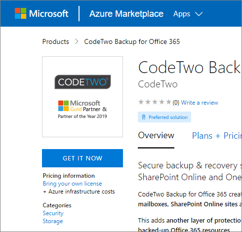 CodeTwo Backup for Office 365 verfügbar auf Azure Marketplace.