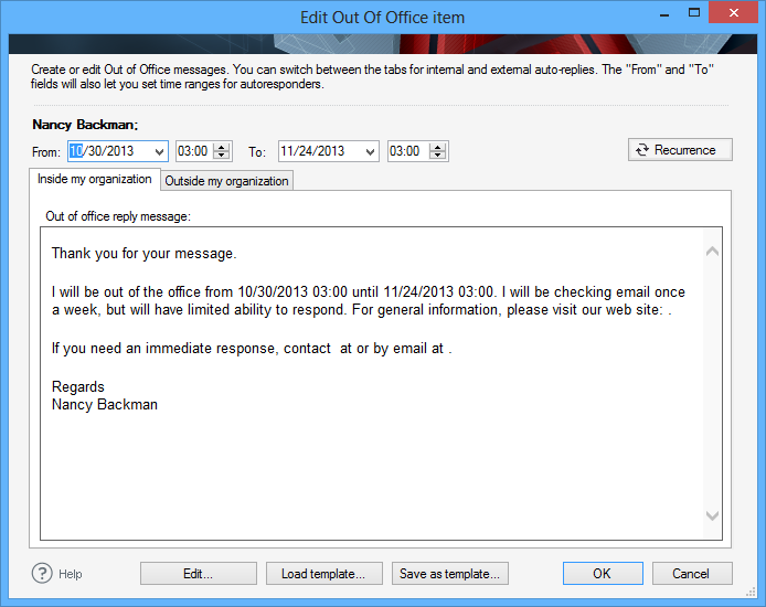 vacation email message template - codetwo out of office manager screenshots