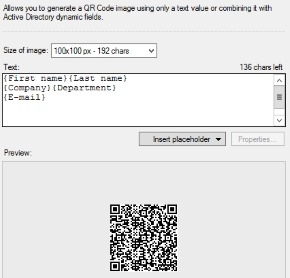 Placeholder in the QR code