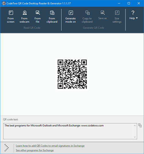 CodeTwo QR Code Desktop Reader & Generator - QR code read in the program