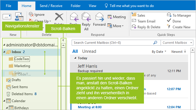 Drag and drop area in Outlook